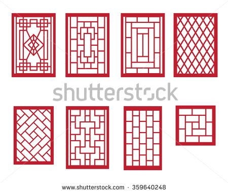 Set Of Chinese Pattern Window With Frame Stock Vector