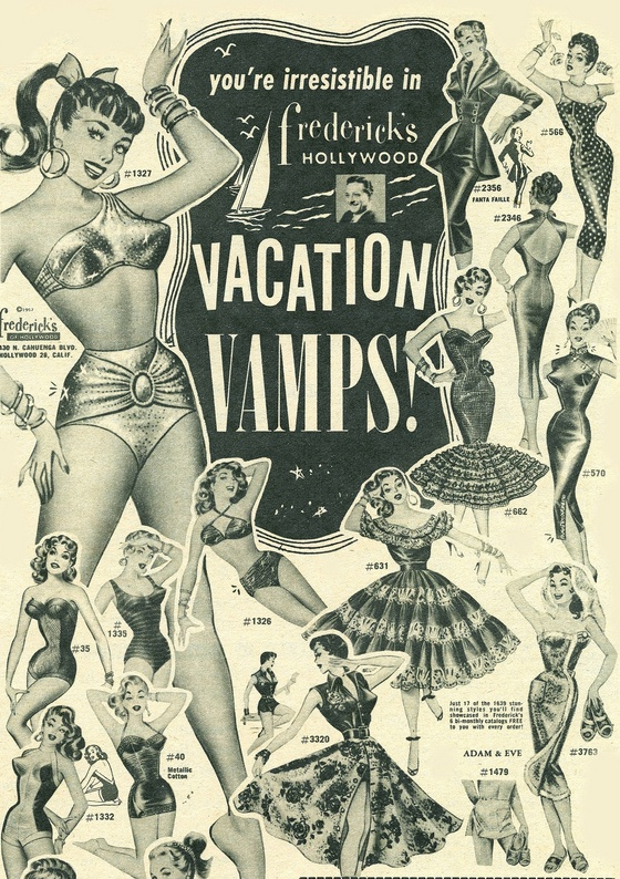 Vacation Vamps 1950s Fredericks Of Hollywood Catalog Art The