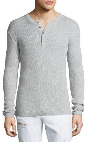 Michael Kors Ribbed Long Sleeve Henley Shirt Was $145 Now $72 At Neiman Marcus Gray ribbed knit henley shirt. Round neckline five button placket. Long sleeves https://api.shopstyle.com/action/apiVisitRetailer?id=507085954&pid=uid841-37799971-81