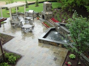 Patio, Fountain, Fireplace - traditional - patio - other metro - Slater Associates Landscape Architects