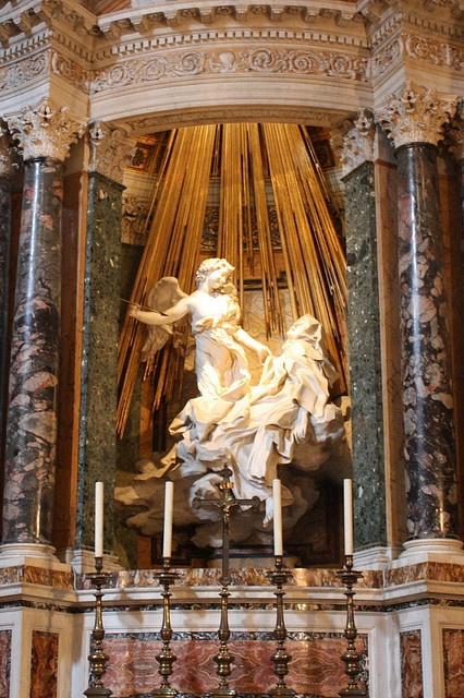 Ecstasy of Saint Theresa of Bernini in Santa Maria della Vittoria church at Rome.