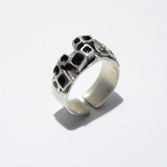 Grey squares enamel ring by JRajtar on Etsy