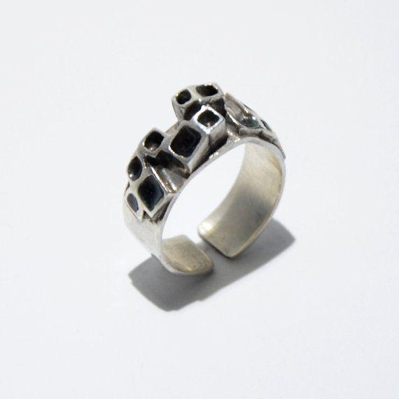 Grey squares enamel ring by JRajtar on Etsy