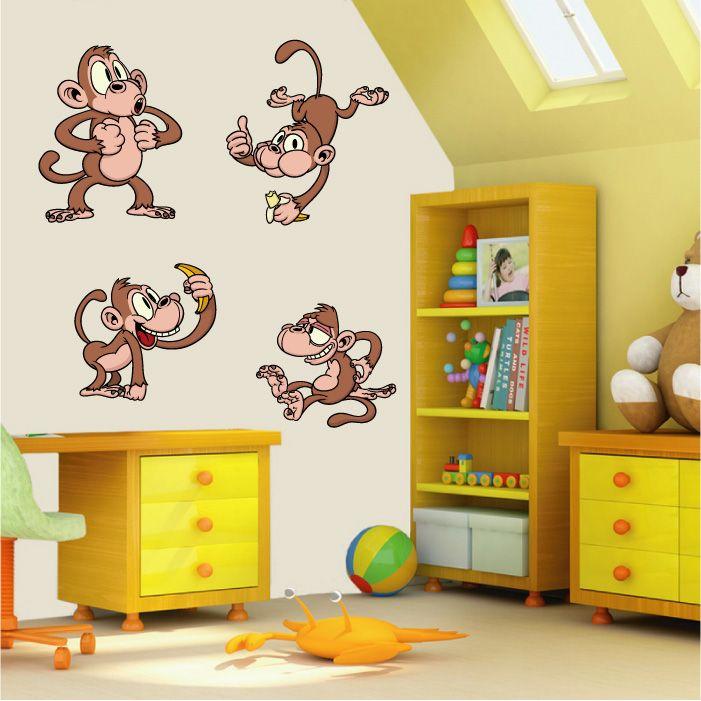 monkey wall stickers | Home Gallery Nursery Wall Stickers Cheeky ...
