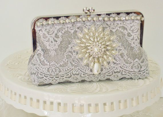 """This is a picture of my custom made bag by Teresa! Silver Handbag / Vintage Wedding / Great by PetiteVintageBags,  If you have a special occasion of any kind coming up, please take a look at Teresa's bags on Etsy.com. She will work with you closely to make you just the right bag for your special day. She also makes bags for the whole wedding party, mother of the bride/groom, etc. Or just pick up one of her bags as a special gift or """"just because""""!"""