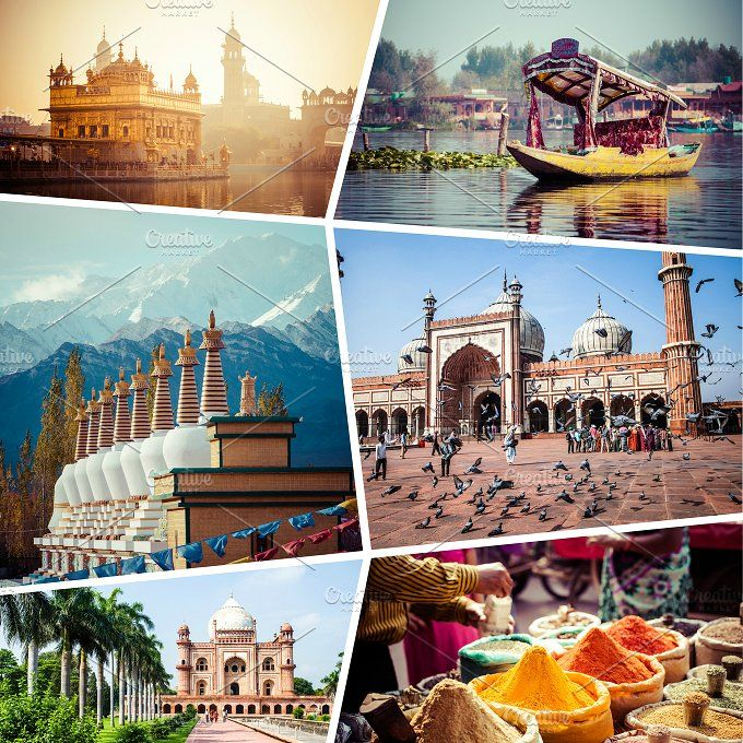 Collage of India pictures by Curioso Photography on @creativemarket