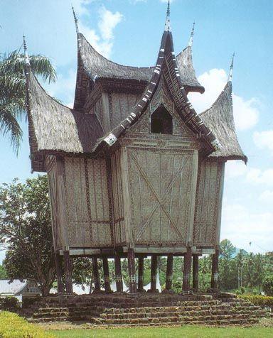 Rice store - Minangkabau architecture, Pagaruyung near Bukit Tinggi, Sumatra.