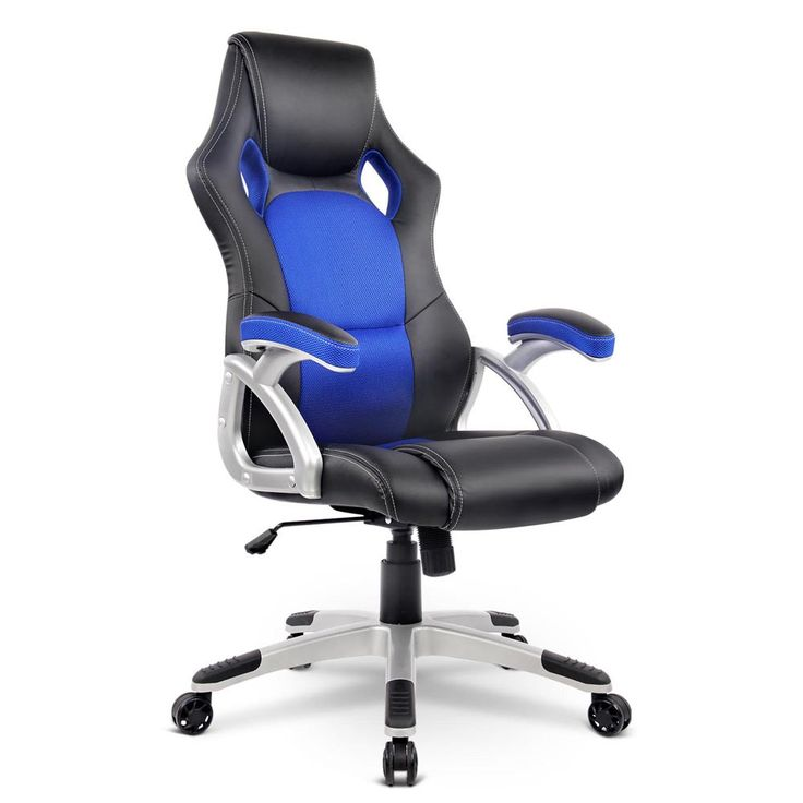 Executive Wooden Office Chair PU Leather High Back Computer Gaming Work Seat