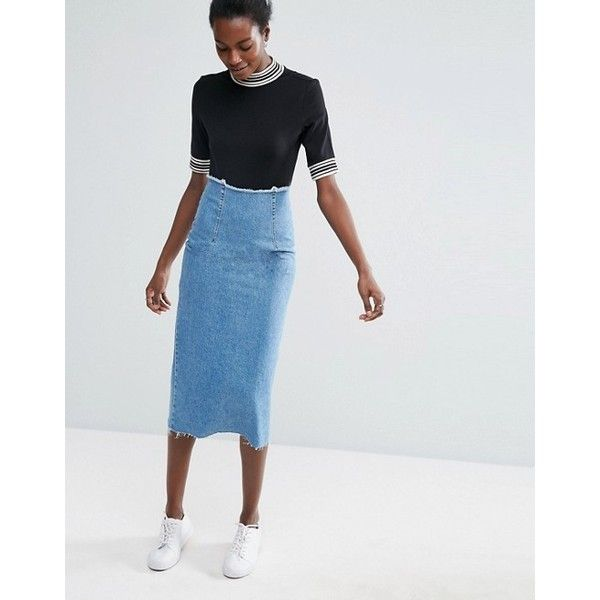 ASOS Denim Midi Pencil Skirt in Mid Wash Blue ($45) ❤ liked on Polyvore featuring skirts, denim skirt, knee length pencil skirt, denim pencil skirt, denim midi skirt and midi pencil skirt