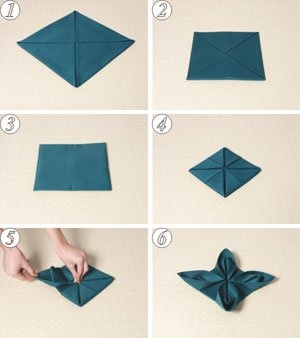"Napkin folding: 1) fold corners in to center 2) fold corners to center again 3) flip it over 4) fold corners to center on this side 5) pull back of ""petal"" towards front 6) done"
