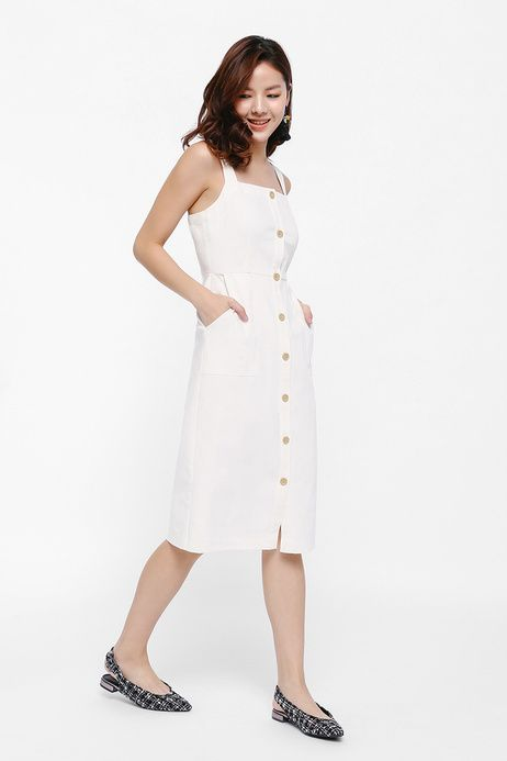 450dfe77d6 Altara Button Up Apron Midi Dress | Looks in 2019 | Dresses, Buttons ...