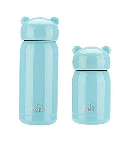 ZHNONE Portable Thermos Travel Mug Cute Design Vacuum Insulated Stainless Steel Thermos Water Bottle Mini Size Coffee Thermos  Vacuum FlaskBlue11 ounce -- Want additional info? Click on the image.