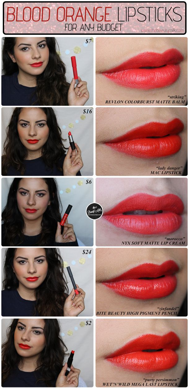 best blood orange lipsticks drugstore high end comparison mac lady danger zinfandel nyx morocco