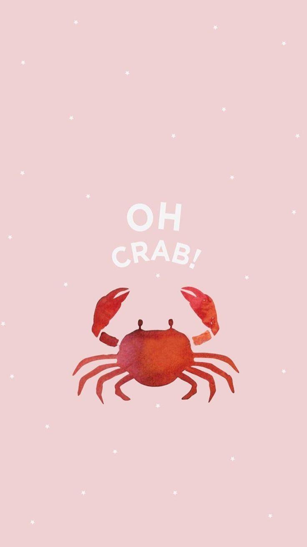 crab. pink. cute.wallpaper.pastel – #iphoneachtergronden