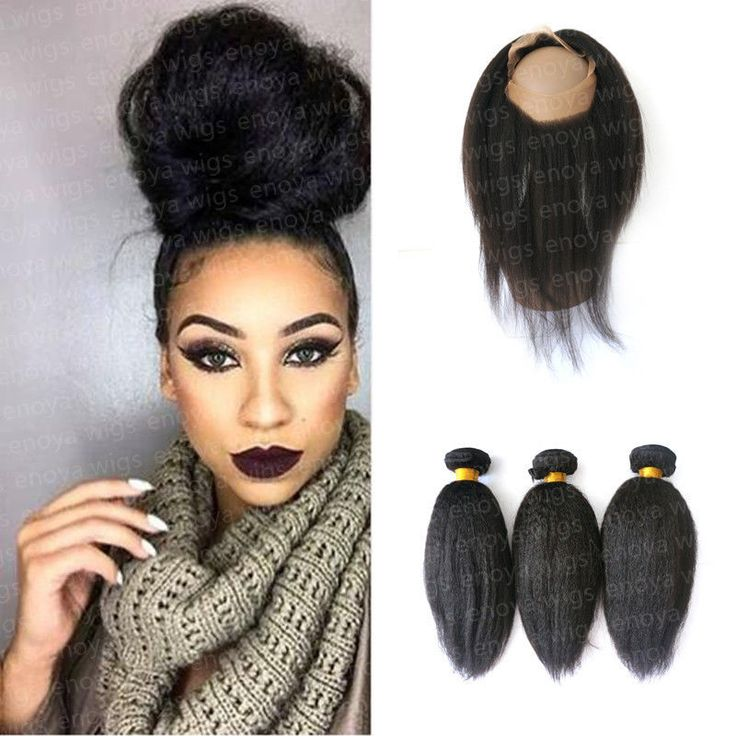 7A Brazilian Hair Weave 3Bundles Italian Yaki with 360 Lace Frontal Band Closure #Enoya #HairExtension