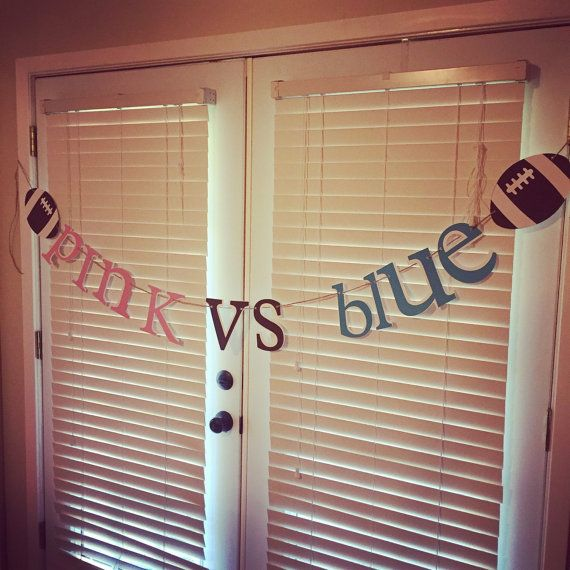 Football gender reveal banner // pink vs blue // by pinktreepapers