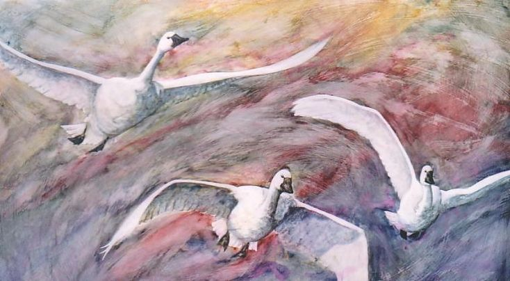"""A Dennis Kalichuk original varnished watercolour on gesso over hardboard...  """"Tundra Wings"""""""