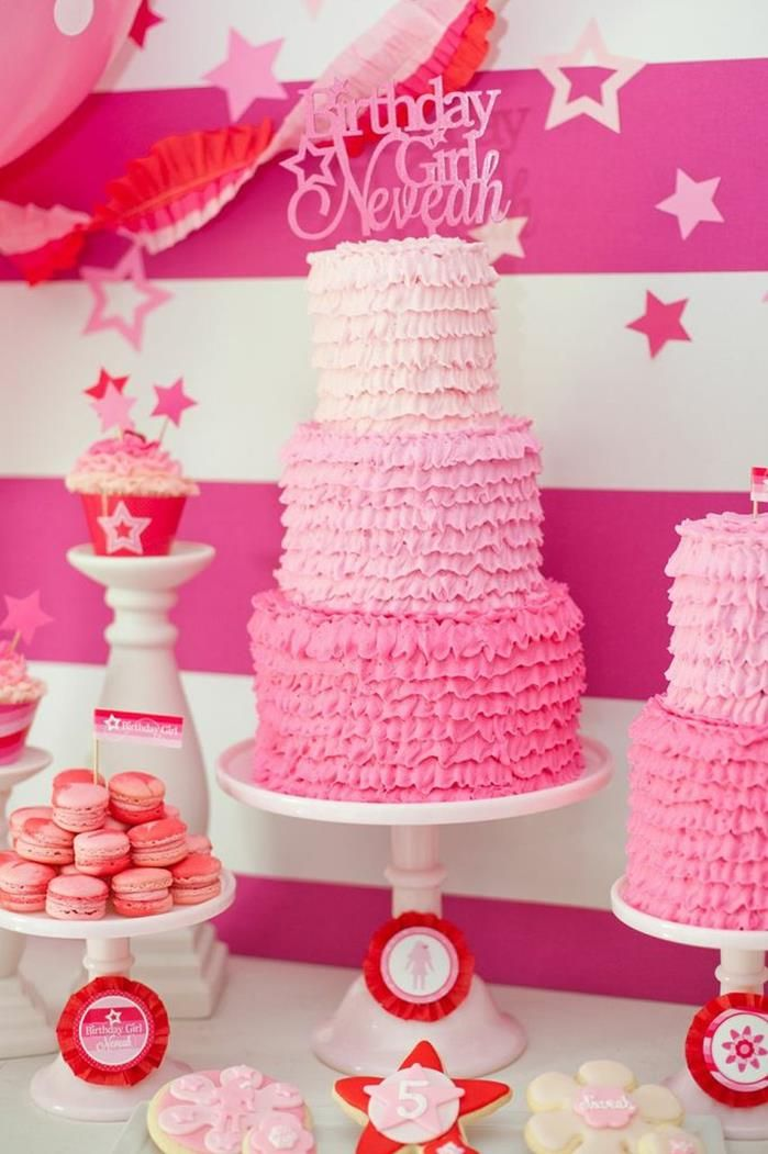 Ruffle ombre cake at an American Girl Doll Birthday Party via Kara's Party Ideas | KarasPartyIdeas.com #Pink #Doll #PartyIdeas #Supplies #americangirldoll #cake #ruffle #ombre