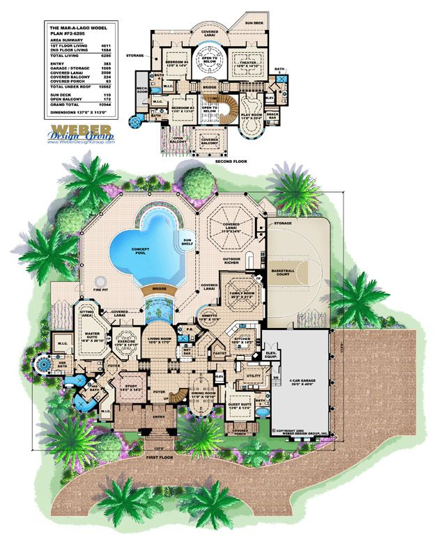 Mediterranean house plan 2 story waterfront mansion floor for Mediterranean house plans with pool