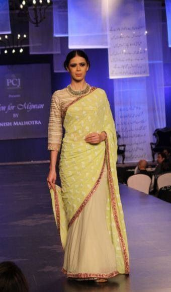 Yellow lime sari Manish Malhotra 2014