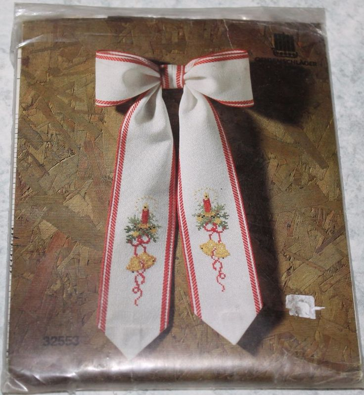 Cross Stitch Kit #32553. Christmas bow - Oehlenschiäger Counted. This is a great item to add to y our Christmas collection. Kit contains: cotton threads, needle, evenweave fiddler's cloth. Kit is new and unused.   eBay!