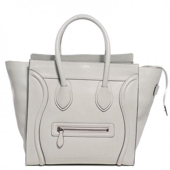 CÉLINE PARIS  Drummed Calfskin Mini Luggage Lune Travel Handbag Bag Ladies