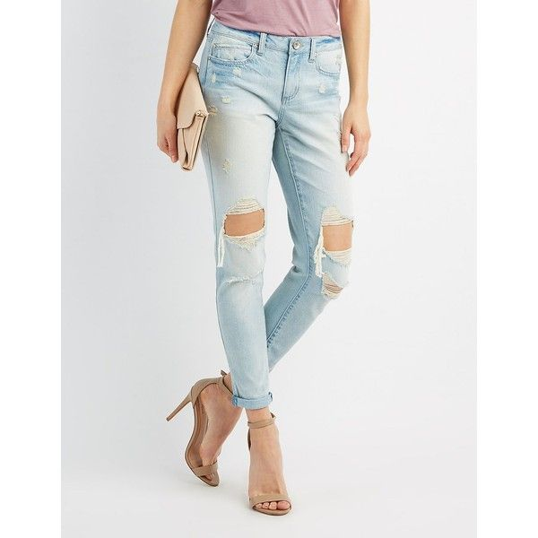 Charlotte Russe Destroyed Skinny Boyfriend Jeans ($21) ❤ liked on Polyvore featuring jeans, indigo, white distressed boyfriend jeans, white distressed jeans, mid rise boyfriend jeans, distressed boyfriend jeans and ripped boyfriend jeans