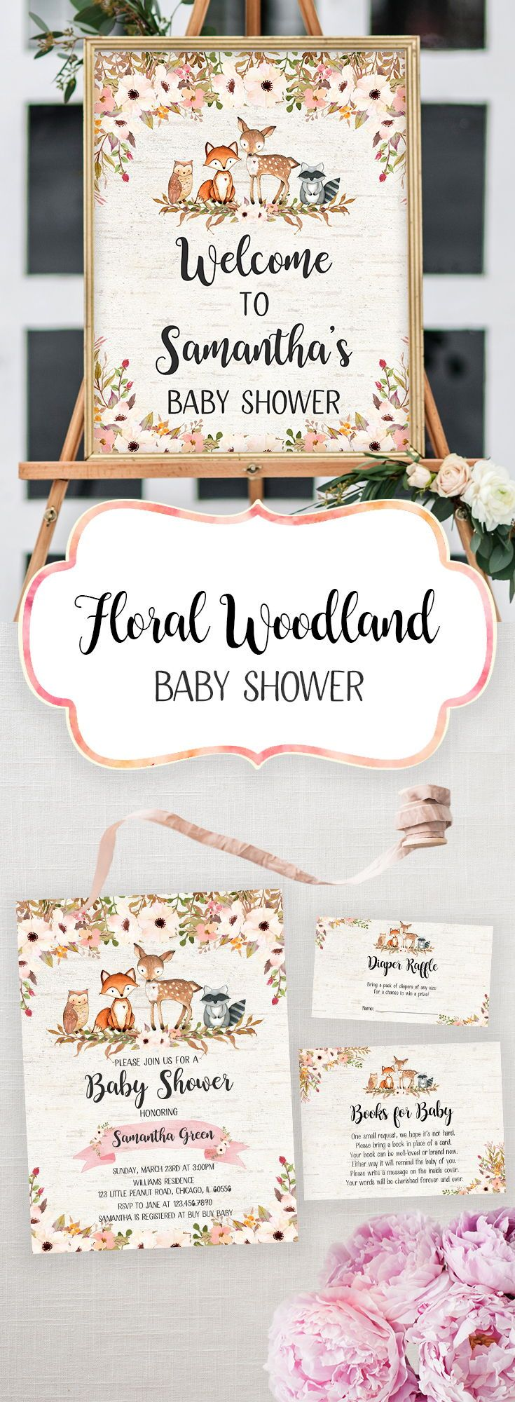 Floral Woodland Baby Shower Printables : Includes signs, games, and invitations! :: Let's Baby Shower #babyshower #babyshowerinvitations #babyshowerprintables #printables