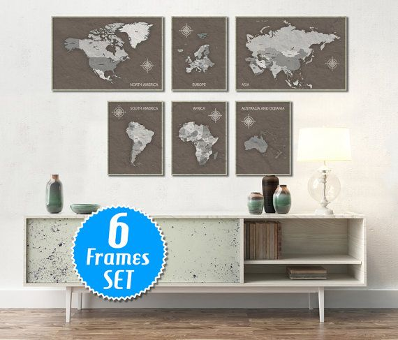33 best WORLD MAP Wall Gallery Sets images on Pinterest Map wall - best of world map grey image