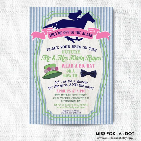 Preppy Kentucky Derby couples wedding shower invitation they're off to the altar!