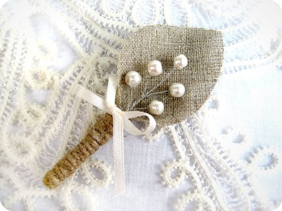Burlap Groom's Boutonniere for Wedding Rustic Bout by BrightBride, $7.00.  Our inspiration will be burlap leaf, no bow, twine wrap, possible the pear spray or gray berries. will do sample