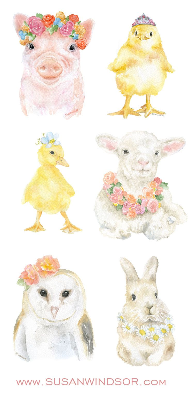 Watercolor animal floral paintings by Susan Windsor. Nursery wall art. Available at SusanWindsor.com