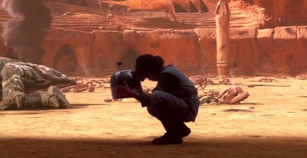Boba is a clone of another bounty hunter clad in Mandalorian armor, Jango Fett, and was raised as Jango's son prior to the former's death at the hands of Mace Windu.