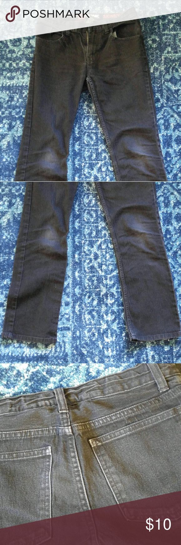 """Boys' size 16 Tony Hawk black skinny jeans These jeans have only been worn a few times. They are truly black; the last picture is the best representation of the color. There is very slight fading at the knees (really, less than it appears in my shabby photography ;). They are classified as """"skinny,"""" however they are not super skinny or form-fitting.  These fit my son when he wore size 18 boys or 26-28x30 jeans.  Check out my closet for more young men's items!! :)  Reasonable offers are…"""