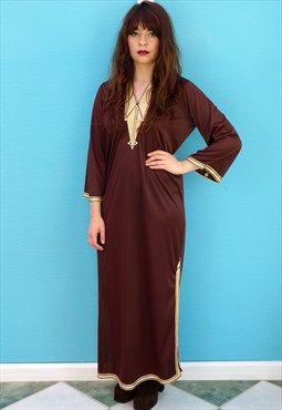 Vintage 70s Bohemian Kaftan Dress