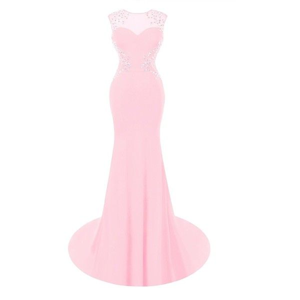Fluorodine Women's Beaded Open Back Long Mermaid Formal Evening Gown... ($116) ❤ liked on Polyvore featuring dresses, pink dress, open back prom dresses, homecoming dresses, long formal dresses and long homecoming dresses