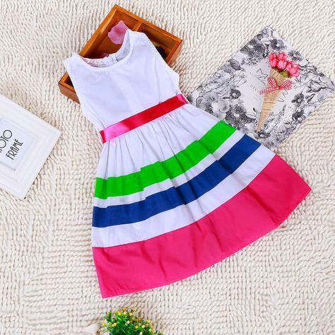 Sleeveless Striped Dress in Pink – Poppatosh