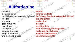 German for all Deutsch für alle: Die Aufforderung auf Deutsch