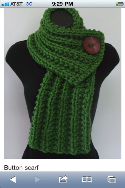 knitted one button scarf- I know how to knit a few basic stitches so this should be easy. Love the green!