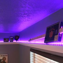 LED Light Shelf, Teen Boy's Room With Cool LED Shelves, furniture, white shelves, DIY, lights, bedroom, home decor, interior design, grey and blue, grey and yellow,