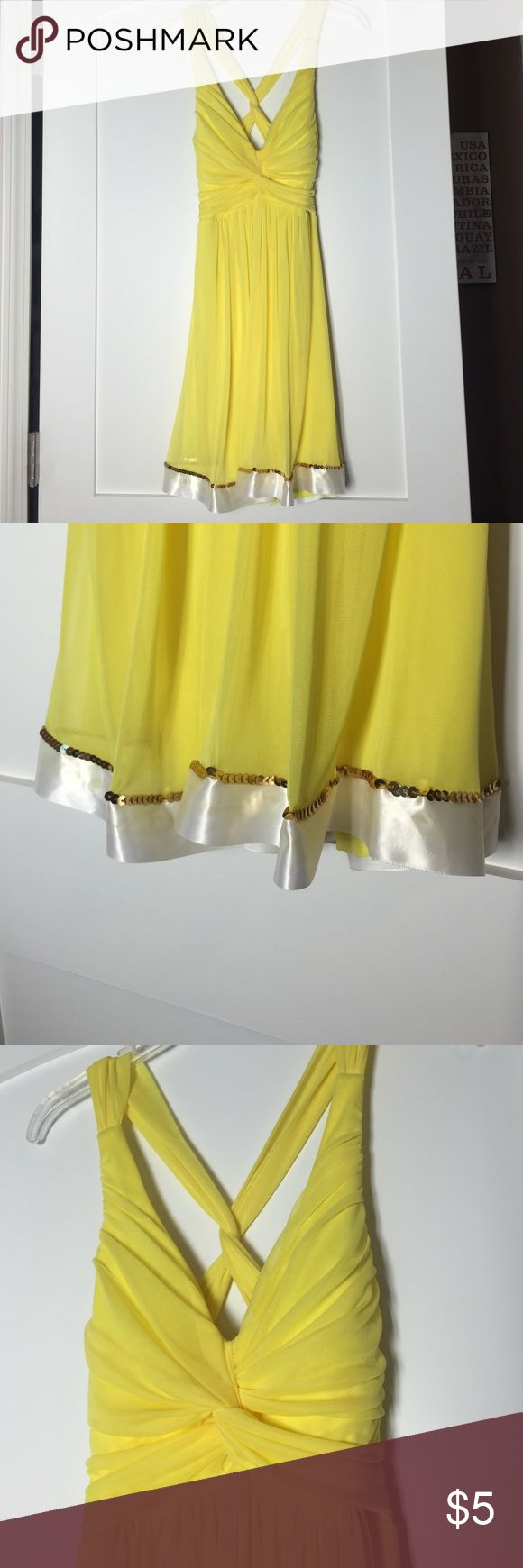 Taboo bright yellow ruched dress Former dance costume can be perfect for a night out, too! This two layered light and bright yellow dress is fun to wear. It has detailed rucking in front and with the open back, and a line of gold sequins and white trim the bottom. Taboo Dresses Mini