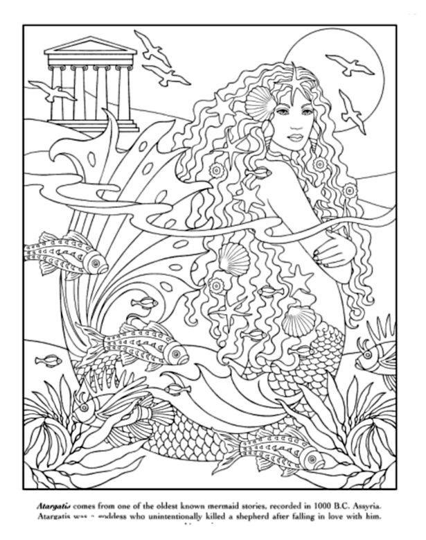 mythical mermaids coloring book dover publications - Mermaid Coloring Pages Adults