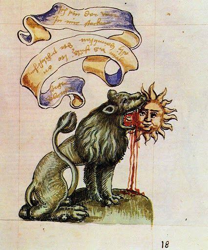 """Le lion vert dévorant le disque solaire - Extrait de """"Rosarium Philosophorum"""" (1550) - Cette représentation constitue une allégorie de la manière de créer de l'or à partir d'autres substances."""
