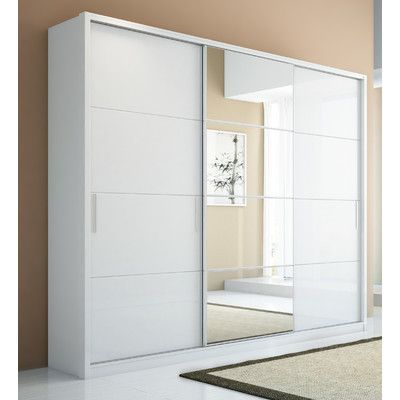 Buy Bellevue Armoire in White Gloss Mirror: No