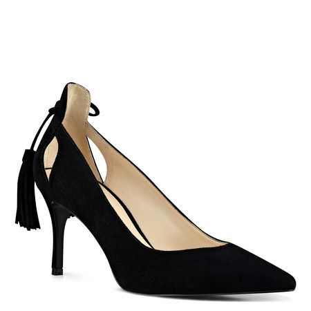 Our Modesty classic suede pointy toe pumps feature slender cutouts at the heel and a tassel-tipped bow at the back.
