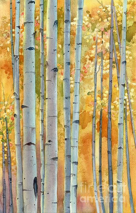 Watercolor of golden aspen by Lorraine Watry. Print is for sale at Fine Art America.