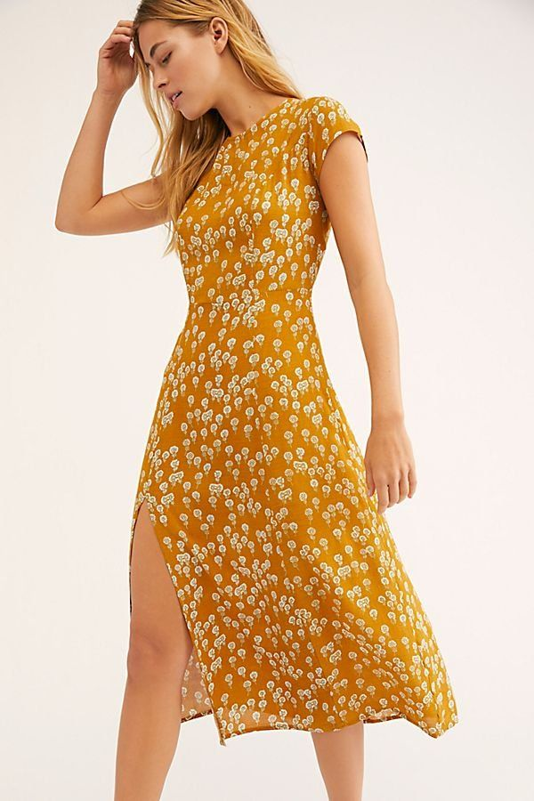 ab90e70d7712 Corrie Dress - Short Sleeve Mustard Yellow Floral Midi Dress with Side Slit  - Boho Dresses - Maxi Dresses- Free People Dresses - Yellow Dresses - Gold  ...
