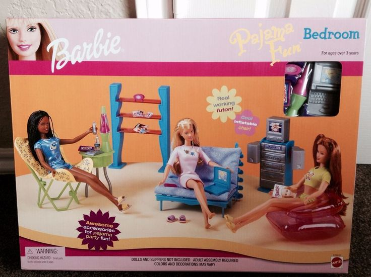 Barbie Bedroom In A Box: Barbie Doll Bedroom Pajama Fun Nrfb Playset Set 1999 In