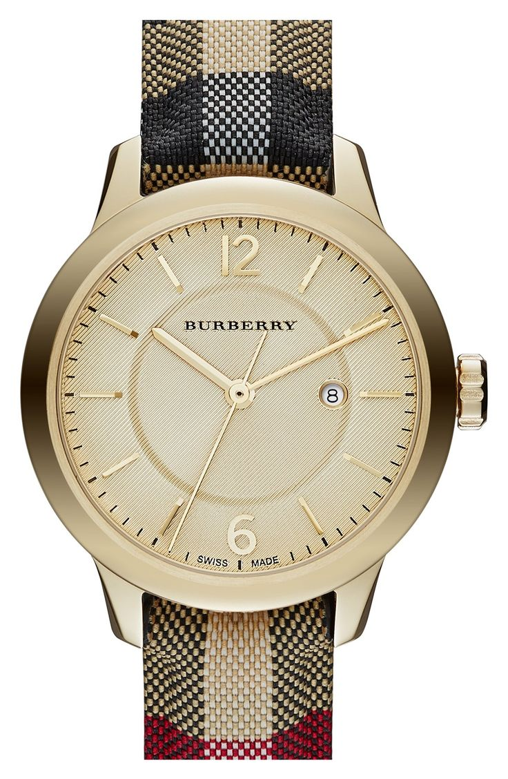 Adding a dash of sophistication to the wardrobe with this gold Burberry check watch.