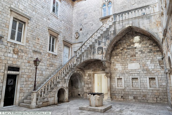 The staircase in the courtyard of the town hall, Trogir, Croatia